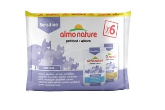 Almo Nature Набор паучей для улучшения работы кишечника, с рыбой и курицей, 6 шт. по 70гр. (PFC DAILY FUNCTIONAL CATS MULTI SENSITIVE WITH FISH AND SENSITIVE WITH POULTRY) 529495MULTI